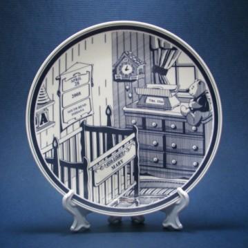 Birthmaker rattlesnake ceramics animal blue hand painted baptismal plate namesake custom production cradle birth plate